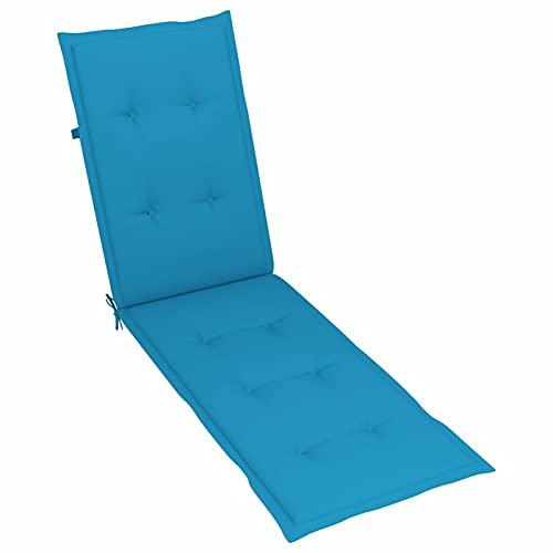 Tidyard Cojín para Tumbona Cojines de Silla de Jardín Cojín Decorativo de Asiento Cojines de Sillas de Terraza para Patio Balcón Salón Tela Azul (75+105) x50x4 cm