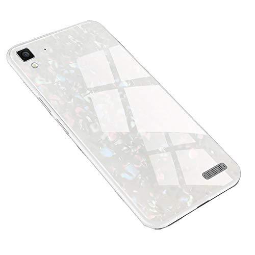 SHIEID Hülle für Oppo R7 Hülle,Marmor Gehärtetem Glas und Silikon Rand Hybrid Hardcase Stoßfest Kratzfest Handyhülle Dünn Case Cover für Oppo R7 (Weiß)