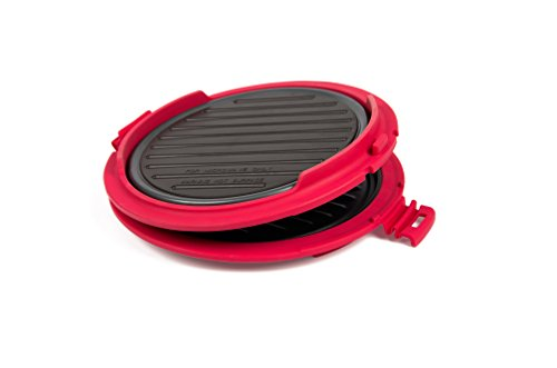 B.BAD 70120 Grill Micro-ondes rond Noir/Rouge