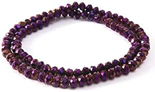 Zoya Gems & Jewellery Crystal Faceted Glass beads loose spacer Purple Rondelle beads 6mm pack of 100