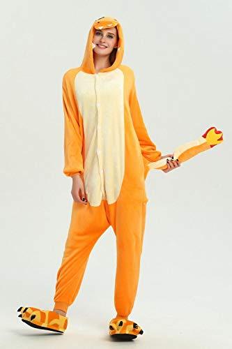 Frauen-Pyjamas Strampelanzug Cartoon Tiere Dinosaurier-Winter-Flanell-Pyjama Erwachsener Rosa Negligés Stich Nachtwäsche Overall Hyococ (Color : Fire Dragon, Size : S)