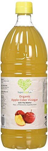 SuperfoodUK 1 Liter (1000ml) - Raw Bio Apfelessig mit der Mutter, Cloudy ACV, roh, ungefiltert, nicht pasteurisiert, Vegan und für Vegetarier geeignet 1 Liter