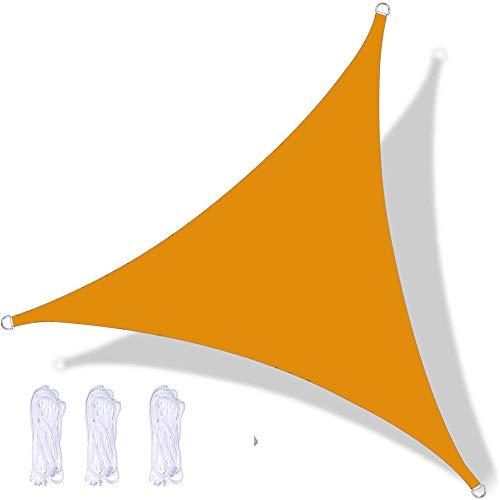 YAOYI Tenda A Vela Triangular, Tenda Da Sole Impermeabile, Protezione UV, per Feste All'aperto In Terrazza Giardino, con Corda (2.4x2.4x2.4m,Amarillo Mango)