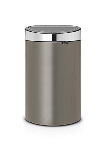 Brabantia Poubelle Touch Bin, 40 litres, Platine avec couvercle en acier inoxydable, Capacité 40 Litres, 72,7 cm x 43,5 cm x 30,2 cm