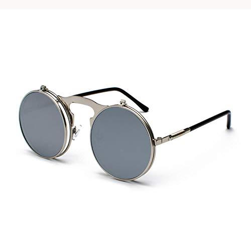 Gafas de Sol Sunglasses Gafas De Sol Rojas Gafas De Sol Redondas con Montura De Metal Lentes Oceánicas Gafas De Sol Steampunk Mujeres Hombre