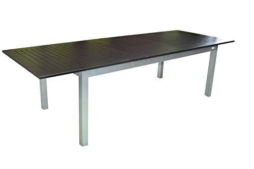 Doppler Expert eettafel, zilver/zwart, uittrektafel van aluminium, 220-280x100 cm, uittrekbaar, terrastafel tuintafel