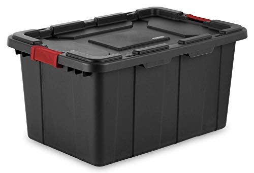 Sterilite 27-Gallon Durable Rugged Industrial Tote w/Red Latches, Black(12 Pack)