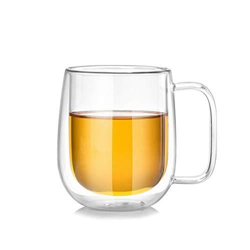 DLRBWAN Copas de Vino 1 unid de Pared de Doble Pared de Vidrio/Tazas de té y Tazas Cerveza Café de café Taza Hecha a Mano Taza de té Tazas Tazas Transparentes (Color : C(200ml))