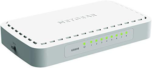 Netgear GS608-400PES Switch, 8Porte Gigabit Base-T RJ45, LED Integrati sulle Porte, Bianco