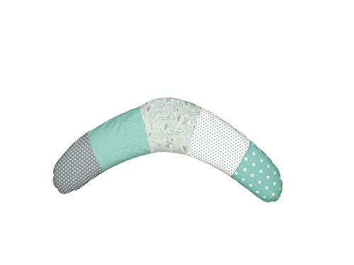 Cojín de lactancia de ULLENBOOM  safari menta (190x38cm; relleno: bolitas de fibra silenciosas; sirve también de cojín de apoyo, almohada para embarazadas, para dormir de lado)