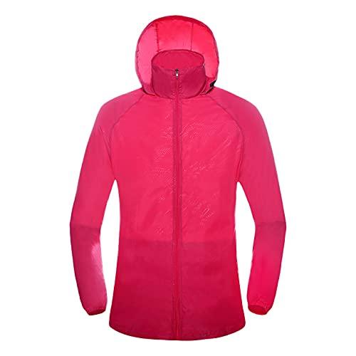 BIKETAFUWY Chubasquero con capucha para mujer, resistente al agua, parka para la lluvia, cortavientos, chaqueta para exteriores, chaqueta deportiva, Rosa., M