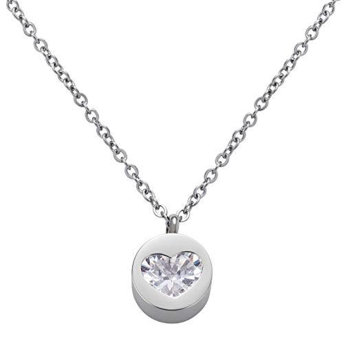 Perlkönig   Damen Frauen   Kette mit Anhänger   Silber   Rund mit Herz   Glitzer Steine   Nickelabgabefrei