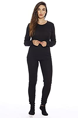 Just Love 95862-Black-XL Women's Thermal Underwear Pajamas Set Base Layer Thermals