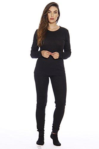 95862-Black-M Just Love Women's Thermal Underwear Pajamas Set Base Layer Thermals