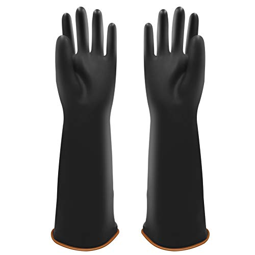 "UXglove Heavy Duty Latex Gloves, Safety Work Waterproof Industrial Rubber Gloves,18"",Black Size XL"