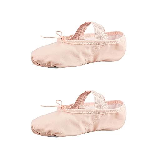 RAIKOU Scarpe da Danza Classica Tela Morbido Scarpe da Ballo Scarpette da Danza con Suola Diviso in Pelle Ginnastica Ballo Pantofole per Le Ragazze delle Signore (Rosa Apricot,36)