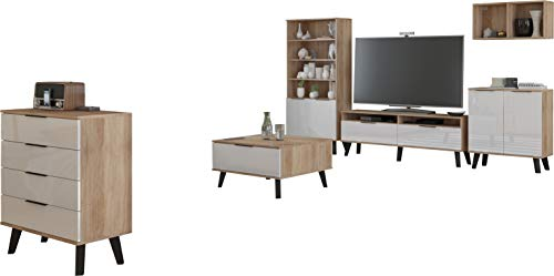 FurnitureByJDM - Woonkamer Meubel Set - SVEN 4 - TV-tafel, multifunctionele vitrinekast, wandplanken, commode x 2 en salontafel - (Eiken Sonoma / Wit Glanzend)