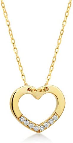 14k Solid Gold 0 02 ct Diamond Heart Chain Pendant Necklace Surprise Fine Jewellery for Women product image