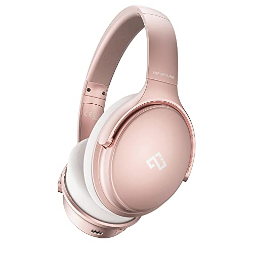 Infurture Pink Active Noise Cancelling Headphones Bluetooth Headphones with Microphone Deep Bass Wireless Over Ear Headset,Memory-Protein Earmuffs,Quick Charge 40H Playtime for TV, Travel, Telework