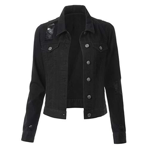 iYYVV Women Casual Fashion Slim Fit Denim Jacket Jean Coat Bead Outwear Overcoat