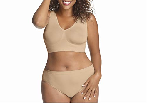 Just My Size Womens Pure Comfort Seamless Wirefree Bra with Moisture Control(1263)-Nude-2X