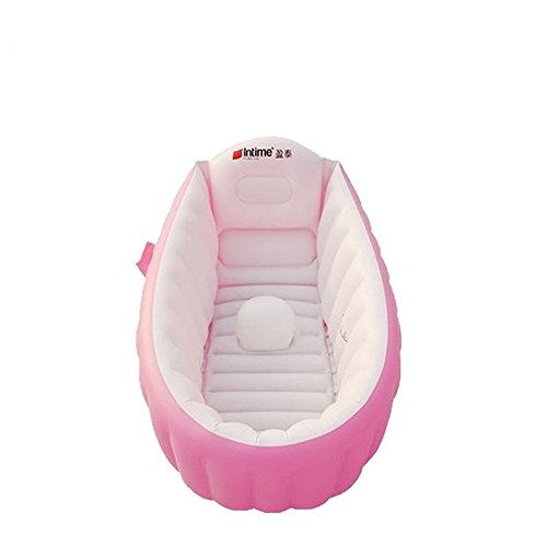 Large Intime baby care tools, inflate baby bath tub & seat, mini swimming pool, foldable, easy to carry, pink