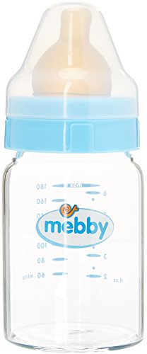 Mebby Biberon Verre Bleu avec Valve Anti-Colique et Tétine en Latex, 180 ml