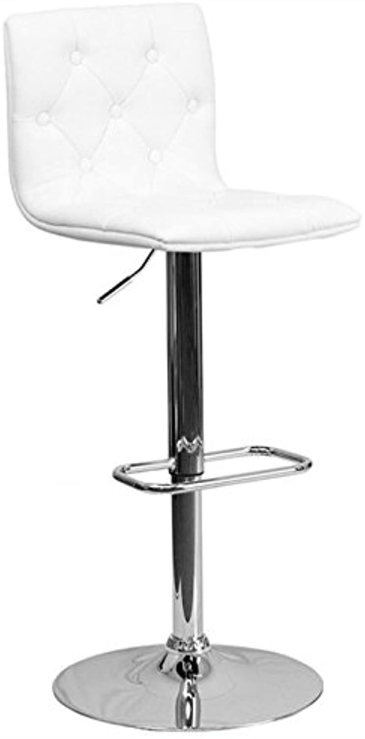 Bowery Hill Tufted Adjustable Bar Stool in White