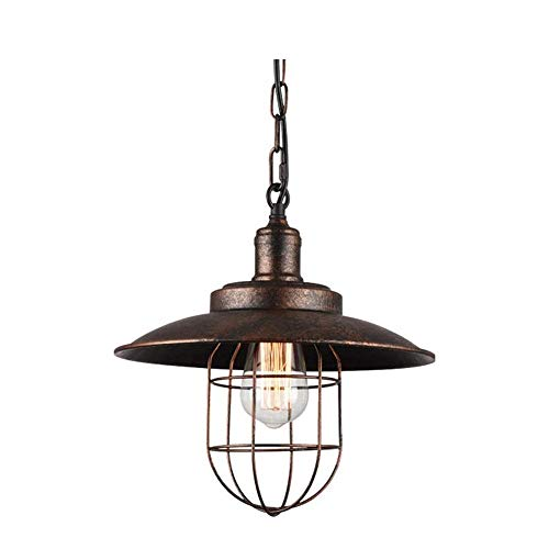 JIAXIAOYAN Lámpara de techo industrial de una sola cabeza, lámpara de techo retro, personalidad creativa, iluminación de hierro forjado, barra de café retro para cocina moderna comedor