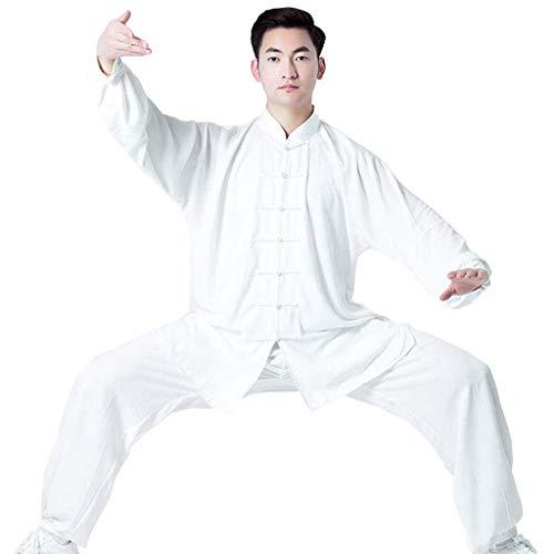 JXS Tai Chi Anzug Kung Fu Uniform Kampfsport-Kleidung - Geeignet für Männer und Frauen - Baumwollfaser atmungsaktiv und komfortabel - Baumwollfaser atmungsaktiv und komfortabel,Weiß,XS