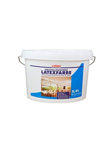 Latexfarbe weiß hochglänzend 2,5 l Farbe Innenfarbe glänzend Wilckens hochdeckend geruchsarm