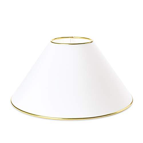 Großer Ersatz Lampenschirm 50cm Stoffschirm weiß Goldring Gold Schirm Aufnahme f. Fassung E27 Goldkante gold