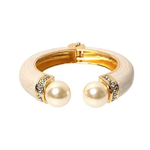 HMANE Pulseras de Hebilla de Resorte Medio Abiertas esmaltadas con Perlas de imitación Vintage para Mujer, Brazalete, joyería para Banquete de Boda