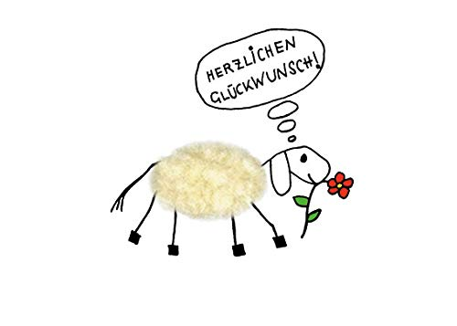 Plüschkarte / Plüschpostkarte A6 • 20776 ''Schaf mit Blume'' von Inkognito • Künstler: INKOGNITO © Barbara Dienz • Plüschpostkarten • Alles Gute