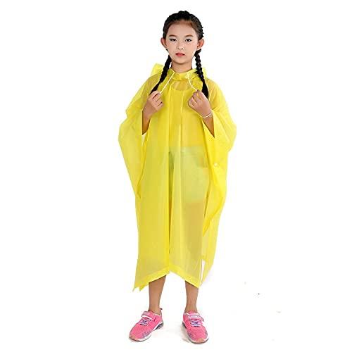 Yingyang Poncho de lluvia 1 poncho de lluvia no desechable para viajes, ropa de lluvia para exteriores, accesorios de senderismo para niños, impermeable (color: amarillo, tamaño: 90 x 110 cm)