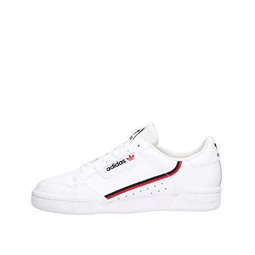 adidas Continental 80 J, Scarpe da Ginnastica Unisex-Adulto, Footwear White Scarlet Collegiate Navy, 38 2/3 EU
