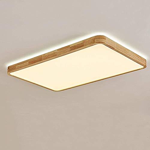 Houten plafondlamp, vierkant, licht eiken plafond, woonkamer, zeer dun, led, solide lamp van hout, Scandinavische slaapkamer, balkon Aisle hal en binnenverlichting