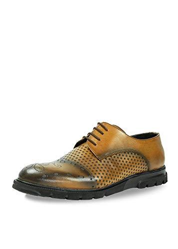CAPRIUM - Scarpe da uomo con lacci, stile casual, business piatto, modello Master, Marrone (marrone), 42 EU