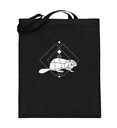 Biber Polygon Geometrie - Bolsa de yute | Animal del bosque Low Poly Bolsa de algodón, color Negro, talla 38cm-42cm