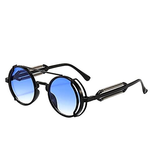 baidicheng Gafas de sol Steampunk gafas de sol retro para hombre de diseño redondo punk estilo gótico gafas UV400 (Color de la montura: gafas, color de las lentes: azul)
