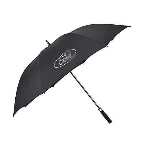 AUTOS Auto-Vollfaserverstärkte Wind Resistant Gerade Golf Regenschirm -verstärkter Canopy, Ergonomischer Griff, mit Auto-Logo,Ford