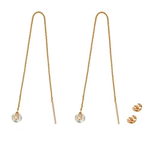 TOP TRENDY Style Orecchini saliscendi delicati a catena lunga, con zirconi cubici e pendente a goccia, placcati in oro rosa