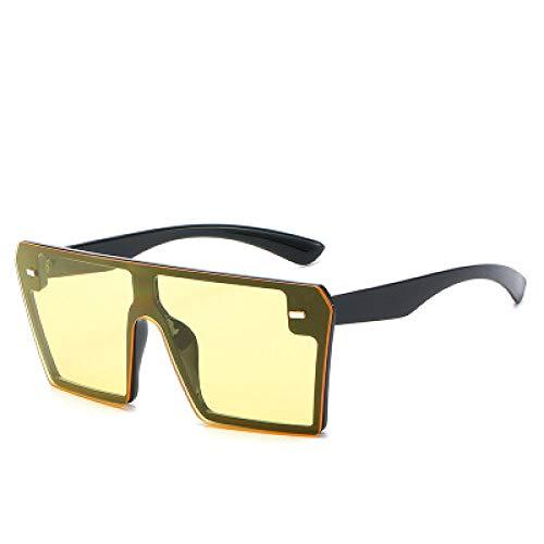 Gafas de sol cuadradas de gran tamaño para mujer, con parte superior plana, gafas para mujer, UV400, para hombres, mujeres, correr, ciclismo, pesca, conducción y golf, negro y amarillo,