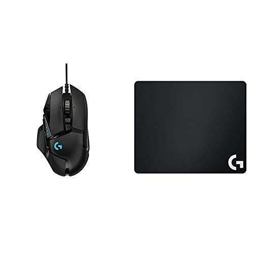 Logitech G502 HERO Gaming-Maus (mit HERO Sensor, RGB, 16.000 DPI, 11 programmierbare Tasten, Balance-Tuning, Deutsche-Verpackung) schwarz & G240 Gaming Mauspad (für Gaming Mause) schwarz