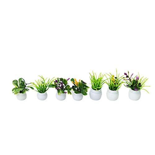 HEALLILY 7 Stück Puppenhaus Blumentöpfe Miniatur Grüne Pflanze Blume in Topf Fee für 1:12 Miniatur Puppenhaus Kit DIY Möbel Dekoration Gartenzubehör