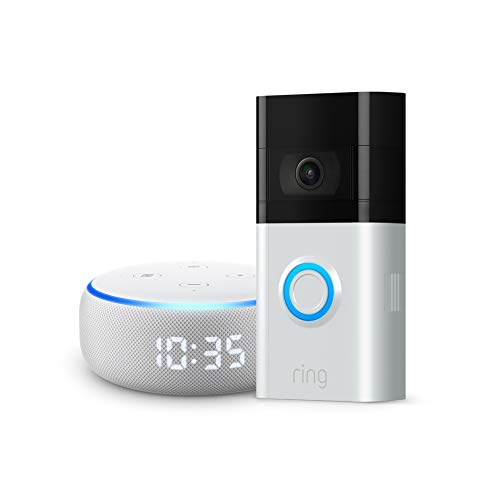 All-new Ring Video Doorbell 3 and Echo Dot with clock