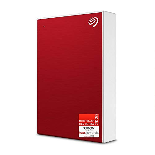 Seagate One Touch, tragbare externe Festplatte 5 TB, PC, Notebook & Mac, USB 3.0, Rot, inkl. 2 Jahre Rescue Service, Modellnr.: STKB1000404
