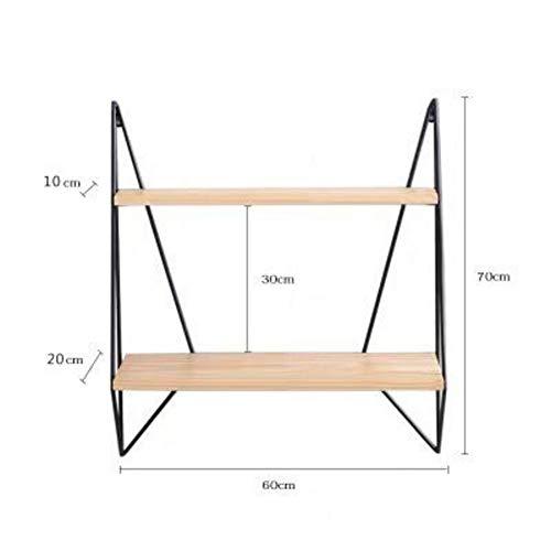 YEYE wandgemonteerde zwevende wandplanken, houten wandplanken metalen steun voor keuken woonkamer opslag planken 60x20x70cm(24x8x28inch) B