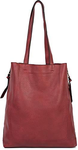 styleBREAKER Damen Tote Bag Handtasche mit seitlichen Reißverschlüssen, Shopper, Schultertasche, Notebook Tasche 02012310, Farbe:Bordeaux-Rot