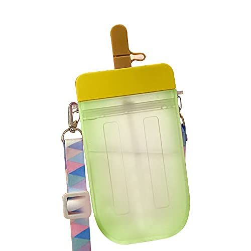 The 300ml drink cup does not contain BPA, adjustable shoulder strap and leak-proof design for adults and children, straw water bottle, transparent creative ice cream plastic bottle-yelle||300ML